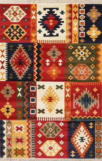 Geometric Patchwork Turkish Oriental 7x10 Area Rug