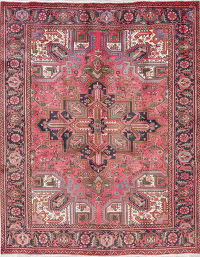 One of a Kind Pink Geometric Heriz Persian Hand-Knotted 6x8 Wool Area Rug