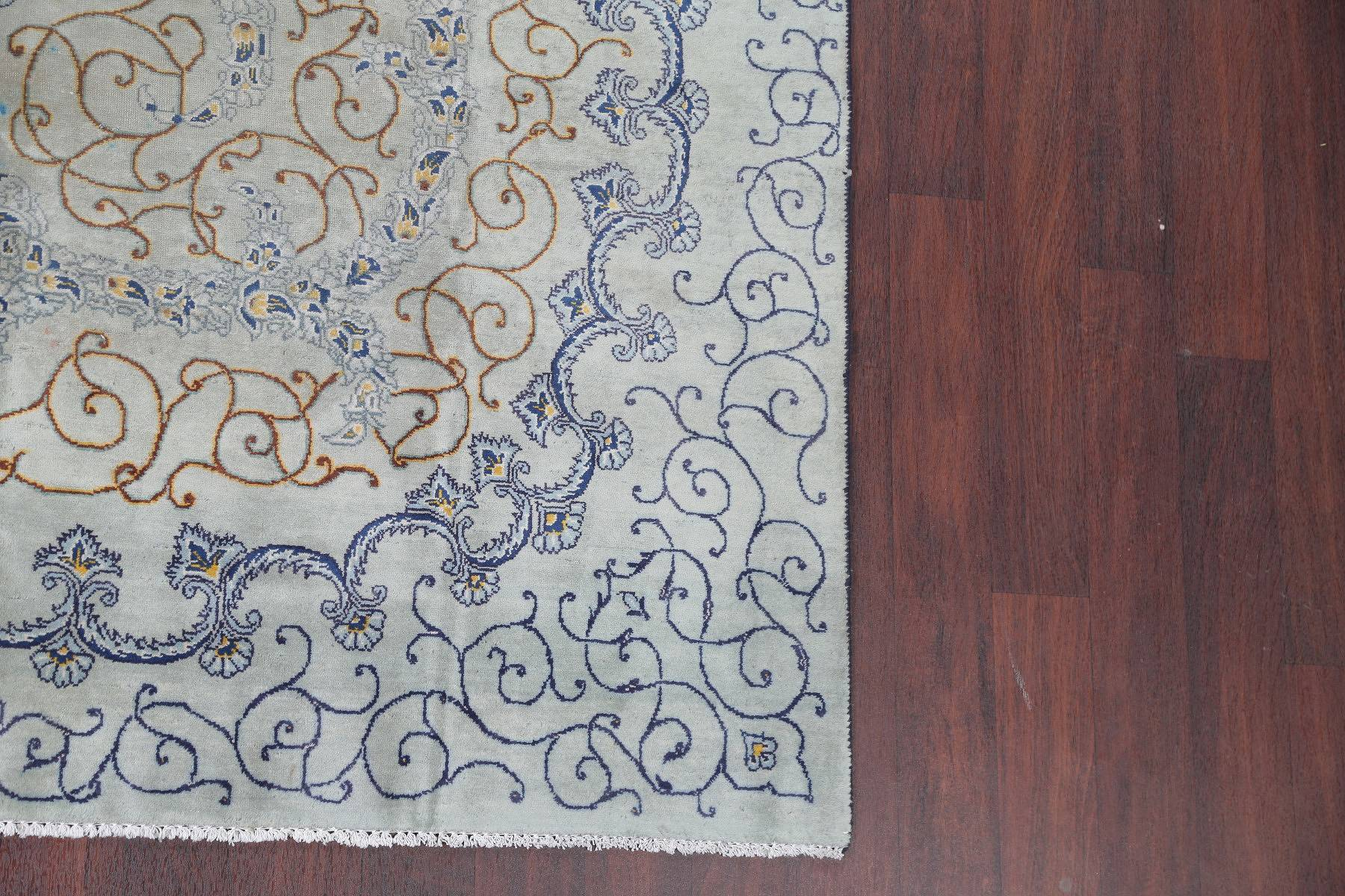 Antique Floral Kashan Persian Hand-Knotted Mint Green 7x10 Wool Area Rug