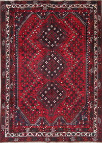 One-of-a-Kind Tribal Geometric Shiraz Persian Hand-Knotted 7x9 Wool Area Rug