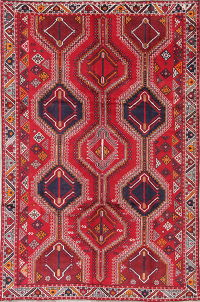 Red Geometric Lori Qashqai Persian Hand-Knotted 6x10 Wool Area Rug