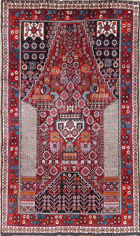 One-of-a-Kind Tribal Geometric Kashkoli Persian Hand-Knotted 5x8 Wool Area Rug