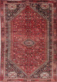 Antique Red Tribal Geometric Qashqai Persian 7x10 Wool Area Rug