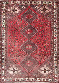 Antique Ruby Red Tribal  Shiraz Persian Hand-Knotted 7x10 Area Rug