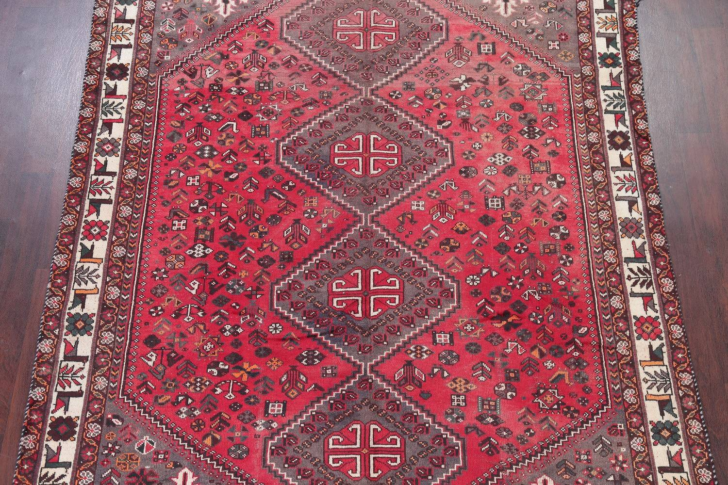Antique Ruby Red Tribal Shiraz Persian Hand Knotted 7x10