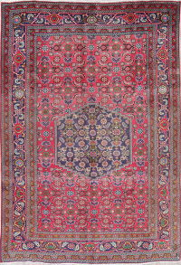 One of a Kind Pink Geometric Ardebil Persian Hand-Knotted 6x9 Wool Area Rug