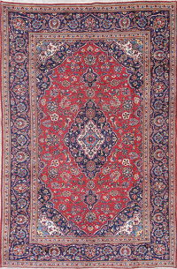 Floral Kashan Persian Hand-Knotted 6x10 Wool Area Rug