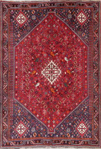 Animal Pictorial Red Tribal Lori Persian Hand-Knotted 7x10 Wool Area Rug