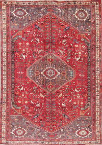 Animal Pictorial Red Tribal Kashkoli Persian Hand-Knotted 7x10 Wool Area Rug