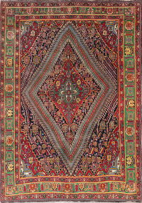One of a Kind Vegetable Dye Tribal Kashkoli Persian Handmade 7x10 Wool Area Rug
