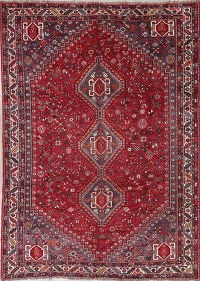Antique Tribal Geometric Qashqai Persian Hand-Knotted 7x10 Wool Area Rug