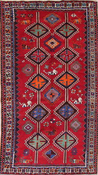 One-of-a-Kind Red Geometric Lori Persian Hand-Knotted 6x10 Wool Area Rug