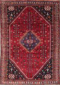 One-of-a-Kind Tribal Geometric Abadeh Persian Hand-Knotted 7x10 Wool Area Rug