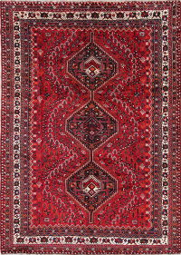 Tribal Geometric Lori Persian Hand-Knotted 7x10 Wool Area Rug
