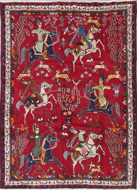 Hunting Design Abadeh Persian Hand-Knotted 7x10 Wool Area Rug