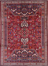 One-of-a-Kind Red Tribal Kashkoli Persian Hand-Knotted 7x9 Wool Area Rug