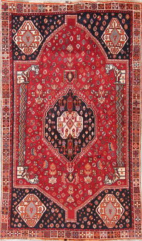 Red Tribal Geometric Kashkoli Persian Hand-Knotted 5x8 Wool Area Rug