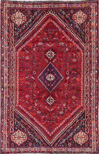Tribal Geometric Lori Shiraz Persian Hand-Knotted 5x8 Wool Red Area Rug