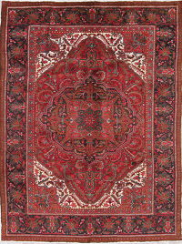 One of a Kind Red Geometric Heriz Persian Hand-Knotted 7x9 Wool Area Rug