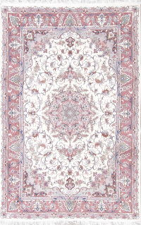 Floral Medallion Tabriz Persian Hand-Knotted 6x10 Wool Area Rug