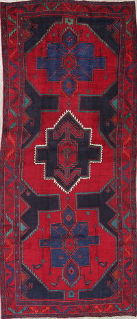 One-of-a-Kind Red Geometric Zanjan Persian Hand-Knotted 5x12 Wool Runner Rug