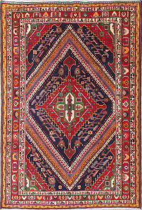 One of a Kind Geometric Kashkoli Persian Hand-Knotted 6x10 Wool Area Rug
