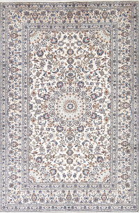 One-of-a-Kind Floral Ivory Kashan Persian Hand-Knotted 7x10 Wool Area Rug
