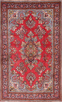 One-of-a-Kind Red Floral Mahal Persian Hand-Knotted 6x11 Wool Area Rug