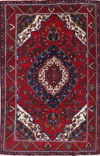 One-of-a-Kind Floral Red Shiraz Persian Hand-Knotted 6x10 Wool Area Rug