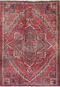 Antique Red Geometric Heriz Persian Hand-Knotted 6x8 Wool Area Rug