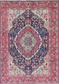 One-of-a-Kind Floral Tabriz Persian Hand-Knotted 7x10 Wool Area Rug