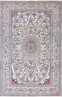 One-of-a-Kind Ivory Floral Nain Persian Hand-Knotted 6x10 Wool Area Rug