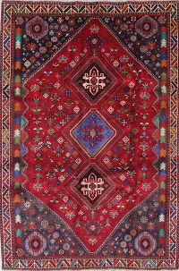 One-of-a-Kind Tribal Geometric Abadeh Persian Hand-Knotted 6x9 Wool Area Rug