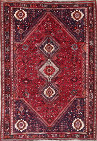 One-of-a-Kind Tribal Geometric Kashkoli Persian Handmade 7x10 Wool Area Rug