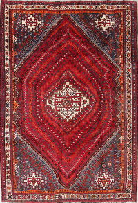 One-of-a-Kind Red Geometric Kashkoli Persian Hand-Knotted 6x9 Wool Area Rug