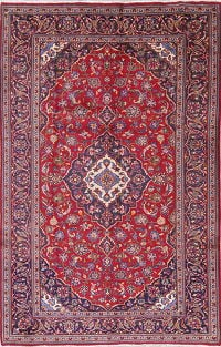 Floral Medallion Red Kashan Persian Hand-Knotted 6x10 Wool Area Rug