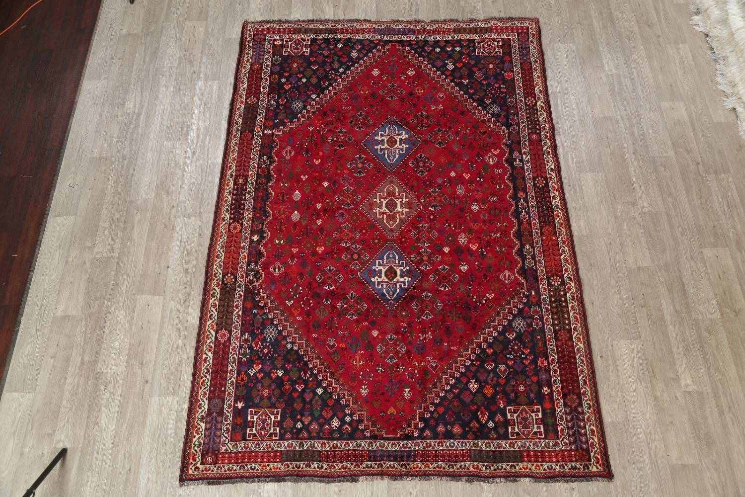 Vegetable Dye Tribal Abadeh Nafar Persian Hand-Knotted 6x9 Wool Area Rug image 21