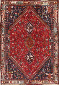 One-of-a-Kind Red Tribal Abadeh Persian Hand-Knotted 6x9 Wool Area Rug