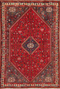 One-of-a-Kind Antique Tribal Shiraz Persian Hand-Knotted 7x10 Wool Area Rug