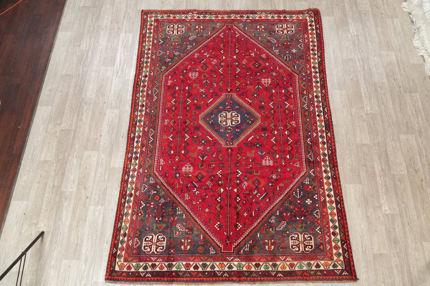 One-of-a-Kind Antique Tribal Shiraz Persian Hand-Knotted 7x10 Wool Area Rug image 24