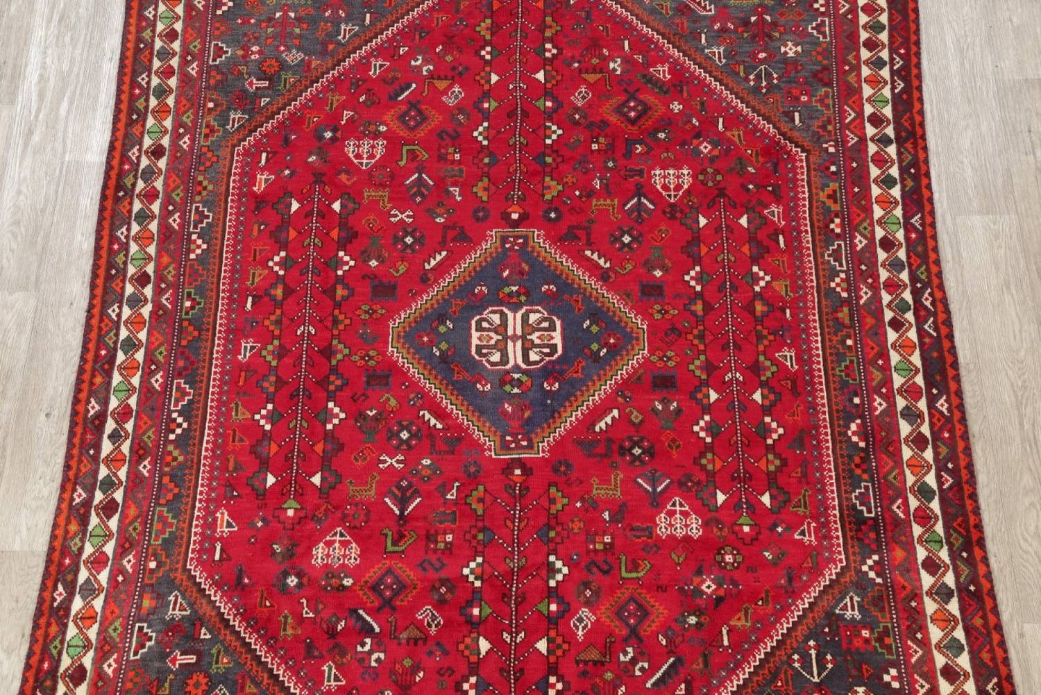 One-of-a-Kind Antique Tribal Shiraz Persian Hand-Knotted 7x10 Wool Area Rug image 23