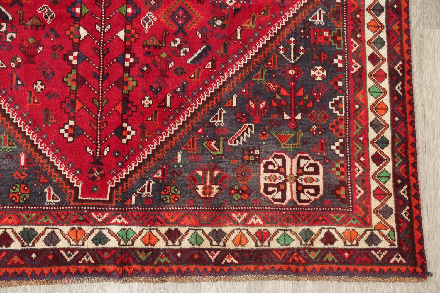 One-of-a-Kind Antique Tribal Shiraz Persian Hand-Knotted 7x10 Wool Area Rug image 20
