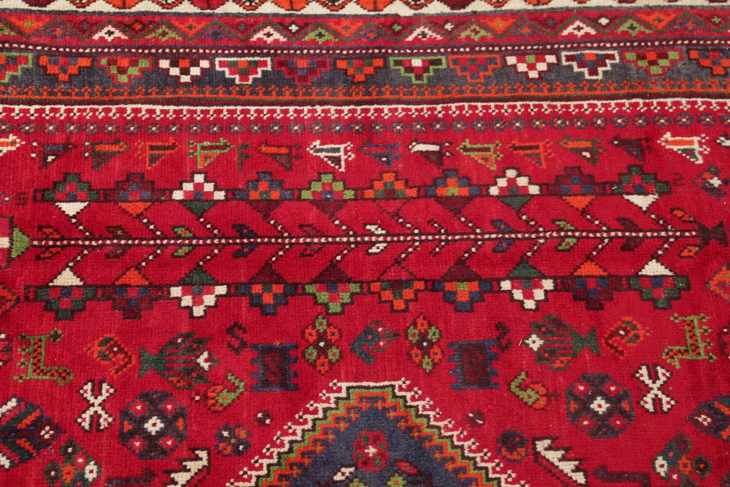 One-of-a-Kind Antique Tribal Shiraz Persian Hand-Knotted 7x10 Wool Area Rug image 16