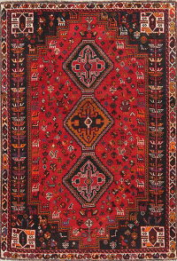 One-of-a-Kind Tribal Geometric Shiraz Persian Hand-Knotted 6x8 Wool Area Rug