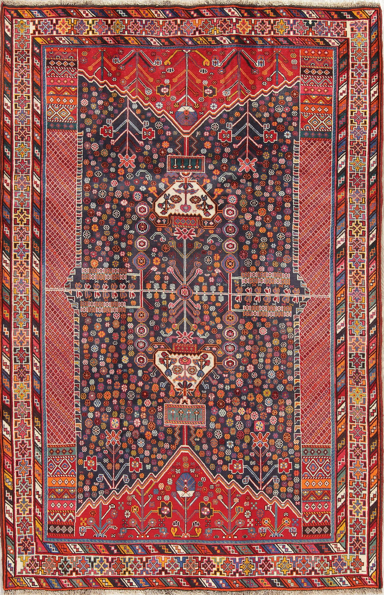 one of a kind navy blue tribal kashkoli persian hand knotted 5x8 wool area rug. Black Bedroom Furniture Sets. Home Design Ideas