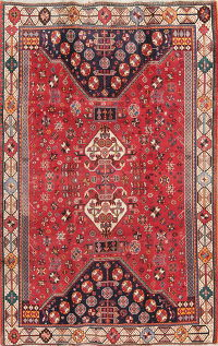 Antique Tribal Red Kashkoli Persian Area Rug Wool 5x8