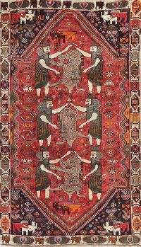 One-of-a-Kind Antique Pictorial Kashkoli Persian Hand-Knotted 6x10 Wool Area Rug