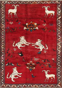 Animal Pictorial Tribal Shiraz Persian Hand-Knotted 6x9 Wool Area Rug