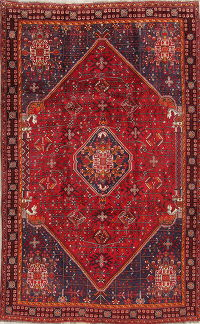 One-of-a-Kind Tribal Red Abadeh Persian Hand-Knotted 5x8 Wool Area Rug