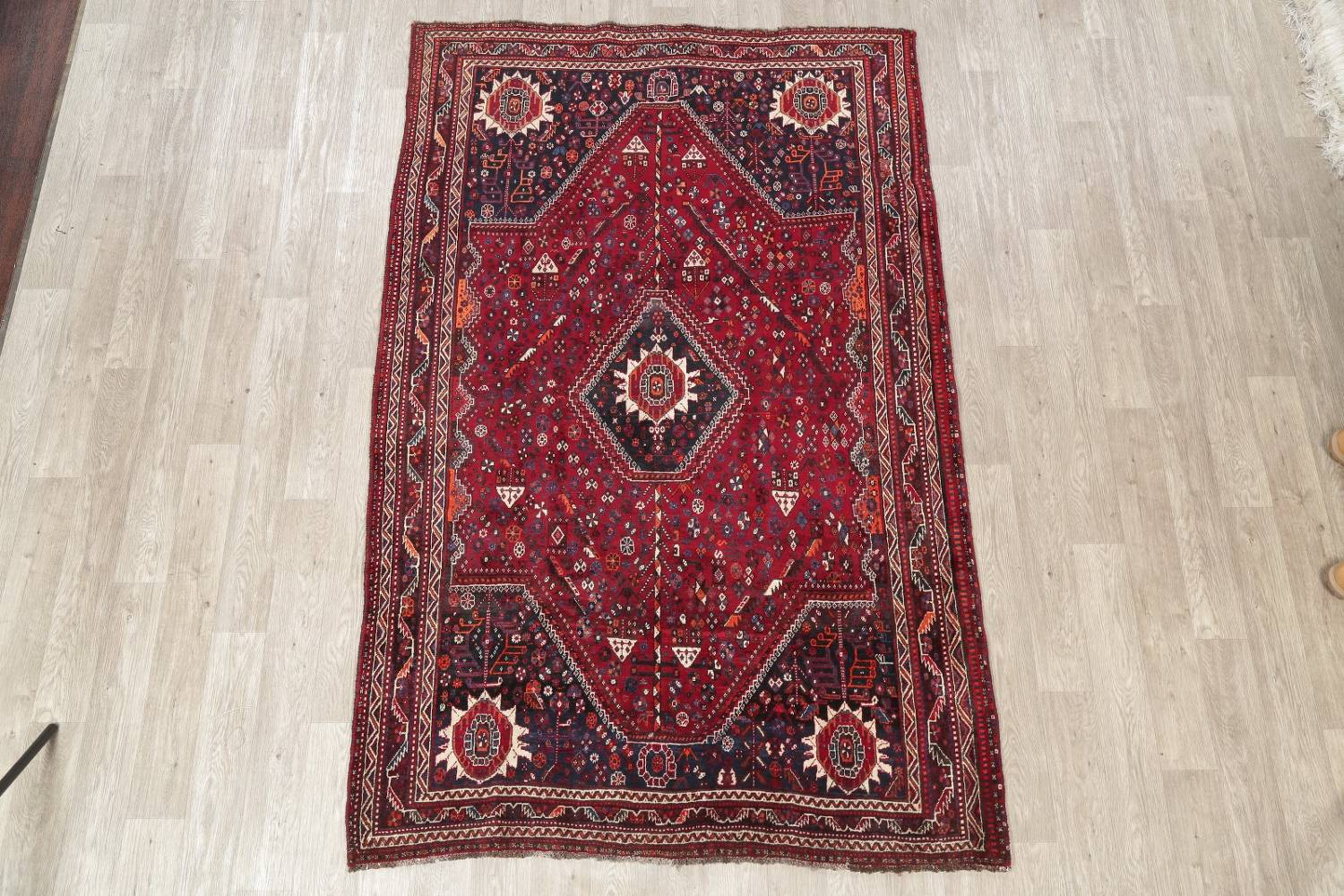 Antique Red Tribal Geometric Qashqai Persian Hand-Knotted 5x8 Wool Area Rug image 2